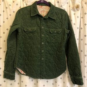 Anthro odille green corduroy quilted shirt